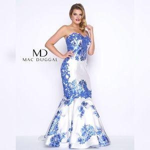 Fabulouss Mac Duggal Floral Strapless prom dress